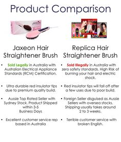 Hi everyone. we have been receiving a lot of messages lately asking for the difference between Jaxeon Hair Straightener Brush and $40 replica hair straightener brushes you can find on various bargain or auction sites. hopefully the following comparison will clarify the matter.