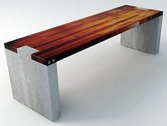 Wood and concrete slab garden bench