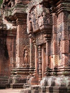 Columns of Banteay Srei Temple in Siem Reap, Cambodia.