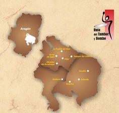 Mapa de la Ruta del Tambor y Bombo   #sienteTeruel #redoblaAlcañiz