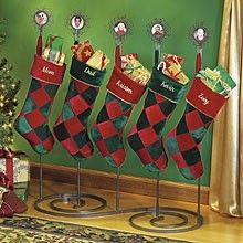 christmas stocking floor stand metal wood holder table rack hanger holiday decor ebay. Black Bedroom Furniture Sets. Home Design Ideas