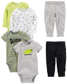 M/ädchen 6-piece Bodysuits Simple Joys by Carters Baby and Pants Set Short and Long Sleeve