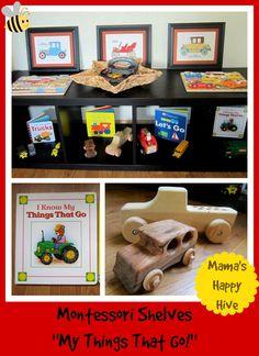 """Montessori Shelves:  """"My Things That Go!""""  www.mamashappyhive.com"""