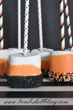 Spooky Halloween Marshmallow Dippers from Bombshell Bling - A perfect treat to make with kiddos for Halloween parties at home or for school!...