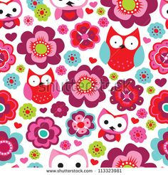 Seamless retro flowers and owl kids illustration background pattern in vector