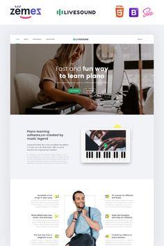 Livesound - Music School Landing Page Template Landing Page Examples, Best Landing Pages, School Website Templates, Landing Page Inspiration, Design Inspiration, Website Color Schemes, Piano Classes, Music Courses, Education Templates
