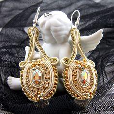 Klin gol - golden soutache earrings