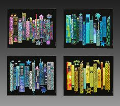 Glass For Sale | Jazz Seasons Dichroic Fused Glass 4 Panel Wall Art | ArtsyHome