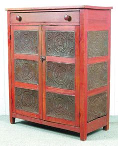 beautiful old red pie safe