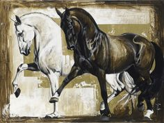 Reproductions giclées sur toile - giclée prints on canvas — Elise Genest Abstract Horse Painting, Watercolor Horse, Horse Drawings, Animal Drawings, Art Drawings, Painted Horses, Clown Paintings, Animal Paintings, Images D'art
