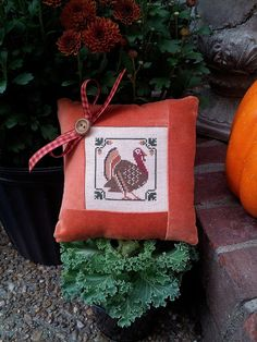 Turkey Pillow Cross Stitch Patchwork Quilt by VintageFrenchRoses, $18.00 *SOLD*