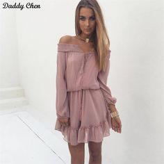 Women beach summer tunic Off shoulder long lantern sleeve chiffon vintage  Short dress shirt 2017 Ruffle sexy tassel slash neck. Summer Dresses ... 78aac2c0a6dc