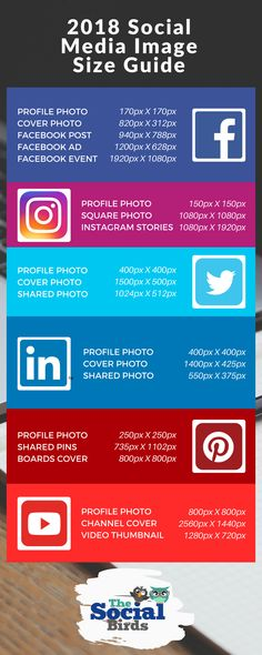 With so many Social Media Images to be sized and re-sized, we put this Infographic together to make things easier at The Social Birds! 🐥🐥