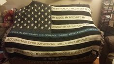 Thin Blue Line Jacquard Throw - Support the families of fallen officers Thin Blue Line Flag, Thin Blue Lines, Police Officer Wife, Police Family, Fallen Officer, Leo Wife, Police Gifts, Jacquard Loom, Cozy Cover