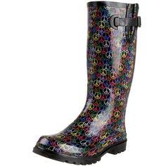 Nomad Rain Boots Puddles Black Multi Peace