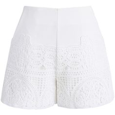 Chicwish Crochet Feast Shorts in White (170 PLN) ❤ liked on Polyvore featuring shorts, white, frilly shorts, white cut off shorts, macrame shorts, white dress shorts and white cutoff shorts