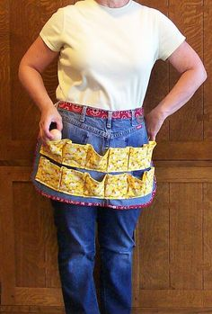 Denim Egg Gathering Apron  Recycled Blue by SusiesTieOneOnAprons