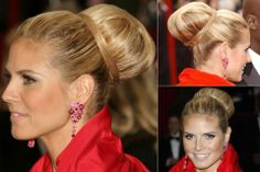 Heidi Klum - Best, celebrity, updo, updos, up, do, hair, hairstyle, hairstyles, hairdos, a-list, inspiration, red carpet, party, wedding, bun, plait, beauty, Marie Claire