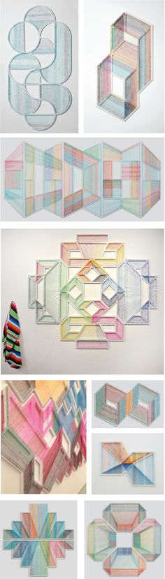Texas-based artist Adrian Esparza disassembles sarape blankets and with wood, nail and enamel reworks the thread to create these colorful geometric installations. On an interview with Glasstire he …