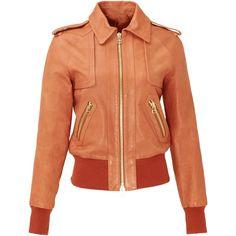 Rental Rachel Zoe Transatlantic Bomber Jacket ($200) ❤ liked on Polyvore featuring outerwear, jackets, brown, dresses, collar jacket, blouson jacket, red bomber jacket, genuine leather jacket and leather jacket