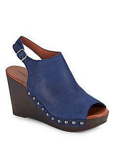 Leather Peep-Toe Slingback Wedge Sandals
