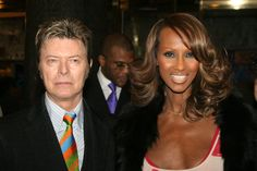 David Bowie and Iman during The Color Purple Broadway Opening Night in New York City.