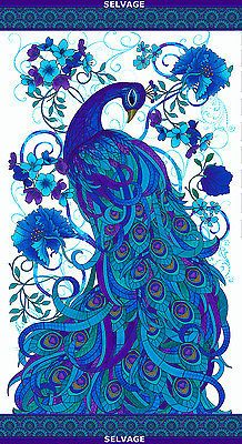 Gracious peacock in vibrant blues, turquoise, and violet on a white background. Mosaic Plume by Chong-a-Hwang for Timeless Treasures Fabrics Peacock Quilt, Peacock Decor, Peacock Colors, Peacock Art, Peacock Pattern, Peacock Images, Peacock Pictures, Peacock Drawing, Peacock Painting