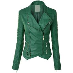 LL Womens Faux Leather Zip Up Biker Jacket with Stitching Detail ($40) ❤ liked on Polyvore featuring outerwear, jackets, faux leather moto jacket, green moto jacket, faux leather motorcycle jacket, green motorcycle jacket en biker jacket