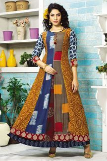 =:= PURATTI =:= Designer gown :-: Fabric - rayon print :-: print fabric - poli Reyon :-: Inner - cotton :-: Size - m, l, xl, xxl. :-: Length - more information call & whatssapp Designer Gowns, Indian Designer Wear, Designer Kurtis, Latest Party Wear Gown, Layered Kurta, Kalamkari Designs, Kalamkari Dresses, Indian Gowns, Indian Wear