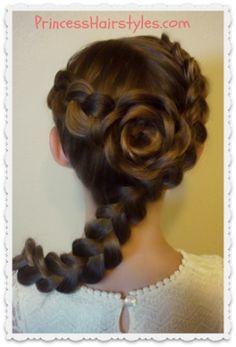 Dutch Braid Rose Hairstyle Tutorial, Flower Girl Hairstyles