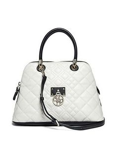 GUESS Aliza Off White Luxe Dome Satchel Carryall Handbag Purse Quilted Bag LN #GUESS #Satchel