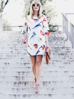 Womens Summer Birds pattern Loose Trendy Dress