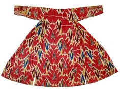 Ikat;Uzbek Woman's robe with red, green, blue and yellow design on a white background, Bukhara, Uzbekistan, 1825 - 1850