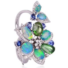 Black Opal Flower Double finger Ring by Lugano Diamonds featuring green tourmalines and diamonds set in white gold #montagelagunabeach