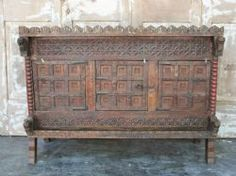 19th Century Sideboard Dowry Chest in Teak from Saurashtra, Gujarat