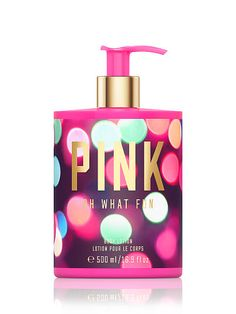 PINK Oh What Fun Body Lotion-Fragrance type:Fruity Floral. Notes: Warm apple and sparkling lilac