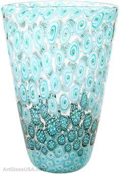 Flat Cone Murrini vase by Michael Egan