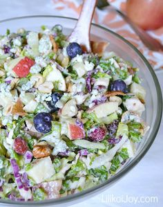 Harvest Chicken Chopped Salad with Creamy Honey Balsamic Dressing - chicken, bacon, gorgonzola, apples, hazelnuts, dried cranberries, blueberries - so many great ingredients in this one.