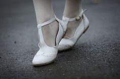 white t-strap flats
