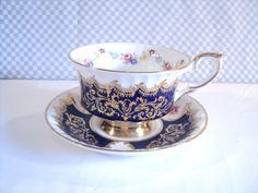 Teacup and Saucer Paragon Royal Blue and Gold