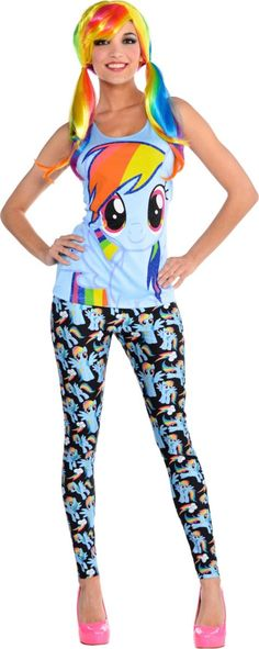 Adult Sweet Rainbow Dash Costume - My Little Pony - Party City Canada Rainbow Dash Party, Rainbow Dash Birthday, My Little Pony Party, My Little Pony Costume, Cute Halloween Costumes, Diy Costumes, Rainbow Outfit, Horse Party, Little Girl Dresses