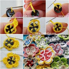 How to DIY Pretty Crochet Flowers with Buttons, follow us on FB: www.facebook.com/fabartdiy