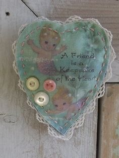 Mermaids Fabric Brooch  Heart Shaped Brooch  Jewelry  by SheilasBlessings, $6.00