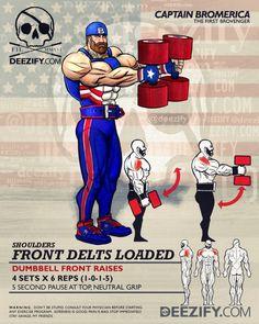 ejercicios de hombro: frontal mancuerna plantea - Capitán América