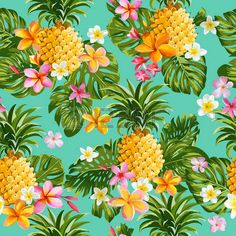 tropical: Pinapples and Tropical Flowers Background -Vintage Seamless Pattern…