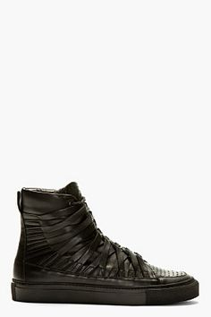 DAMIR DOMA Black Leather Carved High-Top Sneakers
