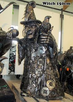 Awesome Witch someone made entirely out of car parts.
