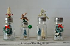 Learn how to create your own darling vintage salt and pepper shaker snow globes! - Salt Shaker - Ideas of Salt Shaker Vintage Christmas Crafts, Christmas Ornament Crafts, Christmas Figurines, Christmas Projects, Christmas Art, Holiday Crafts, Christmas Holidays, Christmas Snow Globes, Dollar Tree Crafts