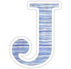 'Letter J Blue Watercolor Stripes Monogram Initial' Sticker by theartofvikki Framed Letters, Painted Letters, Nursery Collage, Letter J, Sticker Ideas, Wood Patterns, Aesthetic Stickers, Blue Aesthetic, Monogram Initials