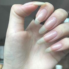 Pin by nailfan on nails! Almond Acrylic Nails, Summer Acrylic Nails, Cute Nails, Pretty Nails, My Nails, Long Fingernails, Long Nails, Long Natural Nails, Nail Growth